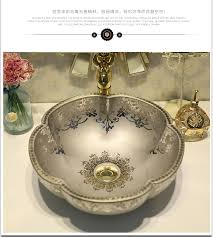 silver vessel sink. Delighful Vessel Flower Bathroom Counter Top Wash Basin Cloakroom Hand Painted Vessel Sink  Sink Silver Pottery Sinkin Bathroom Sinks From Home Improvement On  For Silver G