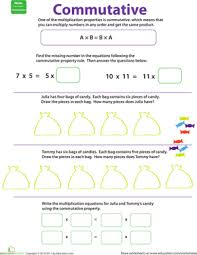 Properties of Multiplication: Commutative   Worksheet   Education.comThird Grade Multiplication Worksheets: Properties of Multiplication: Commutative