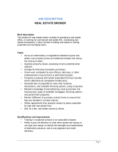 Real Estate Sales Agent Job Description - Template & Sample Form ...