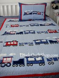 Blue Choo-Choo Train Applique Patchwork 2pc Quilt set BOY ... & Com -Malaysia Patchwork Quilt, Bedspread and Things Online Store Adamdwight.com