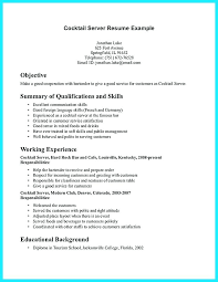 Resume Server Examples Cocktail Waitress Waiter Cover Letter