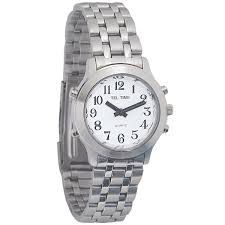 maxiaids talking watches ladies classic tel time chrome talking watch chrome