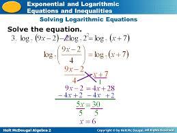 5 solving logarithmic equations