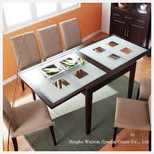 china modern kitchen room furniture dining room table with clear frosted printing tempered glass china table top glass coffee table glass