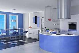 home design paint. light blue interior paint kitchen design matched withstainless dining table and mini bar chairs also round countertop with modern microwave home t