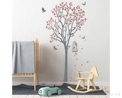 tree leaves birds wall decal