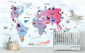 Kinderen Wallpaper Child Kaart Muur Muurschildering Dierlijke Etsy