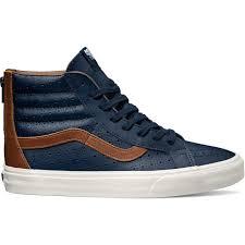 vans sk8 hi reissue zip leather perf dress blues men s skate shoes size 7 5