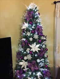 Christmas Tree Purple and Silver on White Christmas Tree Purple Decorations  Or