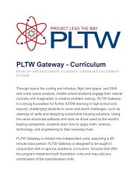 Pltw Pltw Gateway Curriculum
