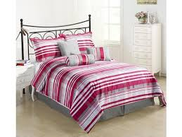 retro queen size 7 piece striped comforter set red pink grey bed cover