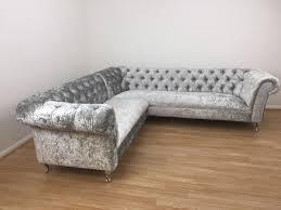 chatsworth crushed velvet corner sofa shimmer silver