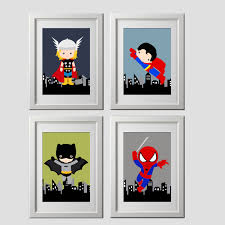 popular items for superhero decor on wall art 4 prints shipped color customized super