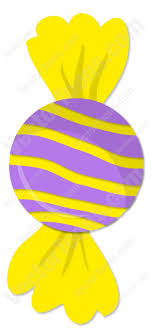 piece of candy.  Candy Piece Of Candy Wrapped In A Yellow And Purple Striped Wrapper Cartoon  Clipart U