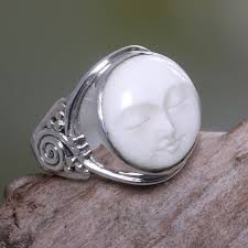 cow bone ring face of the moon