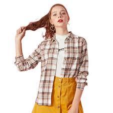 <b>SEMIR</b> Women <b>blouse</b> 100% Cotton Regular Fit <b>Plaid</b> Shirt Collar ...