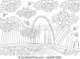 mountain landscape for coloring book csp50913093