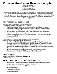 Entry Level Construction Resumes Construction Labor Resume Sample Resume Companion