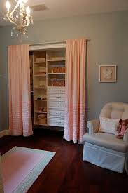 Remove closet doors, put up curtains, build new shelves and drawers inside.  Easier access and quieter. Pretty Colors.