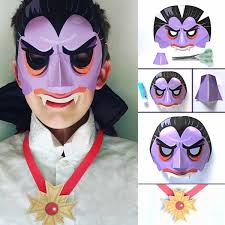 meet count dracula paper vampire mask step by step instructions and template