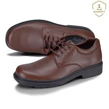 pyrios lace up leather work shoes brown senior