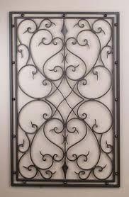 wrought iron metal rect wall decor