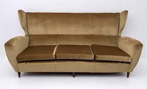 mid century modern high back sofa with
