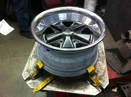 custom painted wheel with semi gloss center and polished lips