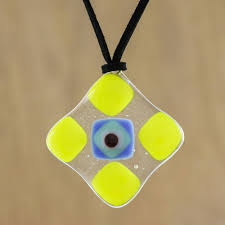 yellow and multi color geometric art glass pendant necklace daffodil treat