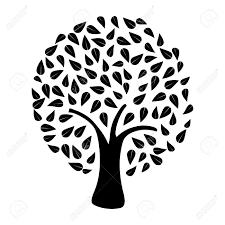 白い背景に黒の木のシルエットベクター ファイルを簡単に操作およびカスタム着色層
