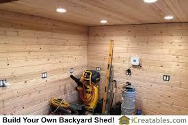 garden shed lighting. interior shed lighting turned on. garden l