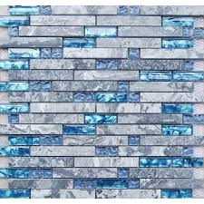 sea blue glass tile kitchen backsplash marble bathroom interlocking wall linear shower bathtub fireplace mosaic tiles