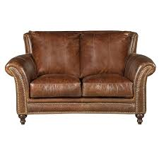 classic traditional brown leather loveseat butler rc willey furniture