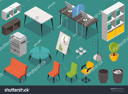 isometric office furniture vector collection. Office Workplace Furniture. Vector Icons Set In 3d Isometric Design. Furniture Collection I