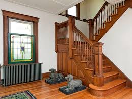 5zb-American-Foursquare-Home-Interior Grand staircase in an American  Foursquare home
