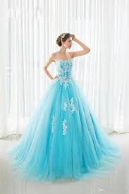 Light Blue And White Dress 2018 New Real Ball Gown Prom Dresses Light Blue Tulle With White Appliques Crystal Beads Lace Up Back Sweet 16 Dresses Quinceanera Dress Red Dress