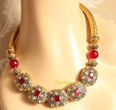 designer maroon necklace earrings antique gold necklace