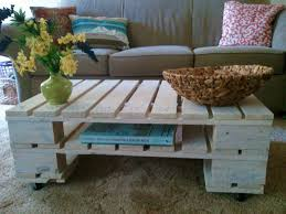 Wood Pallet Coffee Table On Wheels  Pallet FurniturePallet Coffee Table On Wheels