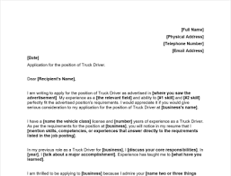 truck driver cover letter includes