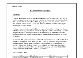 my work experience report gcse work experience reports marked document image preview