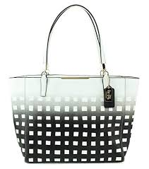 Coach Madison Gingham Saffiano East West Tote Shoulder Handbag, Style  30118, Light Gold