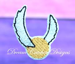 Golden Snitch Dream Catcher ITH Elf Doll Golden Snitch Feltie Embroidery Design Holiday Prop 53