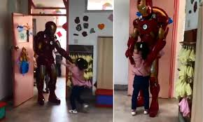 Father In China Surprises Daughter In Iron Man Suit As They Couldnu0027t Go To  The Final Avengers Movie | Daily Mail Online