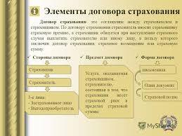 Презентация на тему Договор страхования по гражданскому  6 Элементы договора страхования