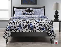 black and white graffiti style urban modern bed set