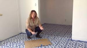 How To Tile A Bathroom Floor Video How I Stencil A Floor Youtube
