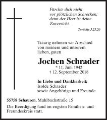 Jochen Schrader Traueranzeige Wochenspiegel