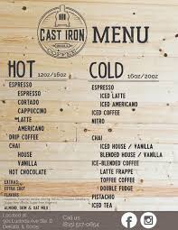 There was an implied love triangle that was easily swept under the carpet only to be mentioned towards the ending. Cast Iron Coffee Menu