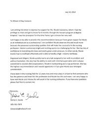 Letter Of Recomendation Example Registered Nurse Recommendation Letter Sample Rome