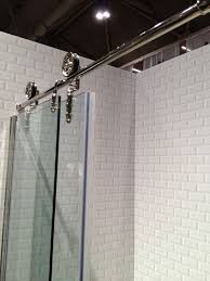 we could do a glass door like this barn door hardware glass shower doors and subway tile meredith heron design